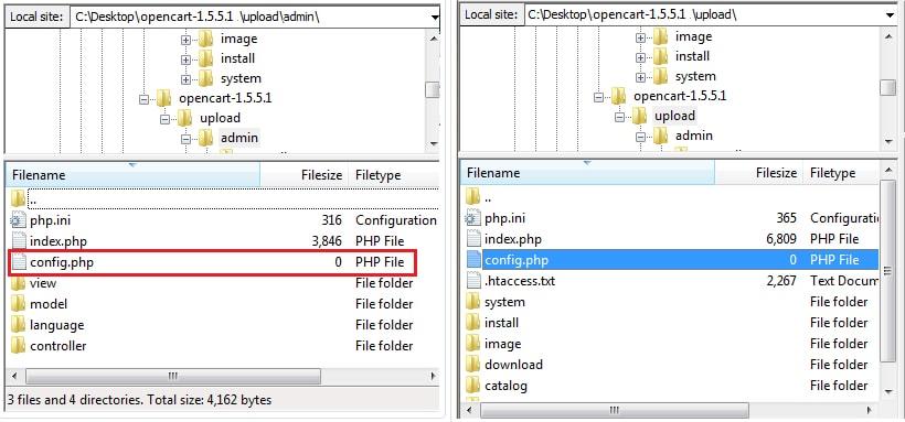 качване на файловете на opencart