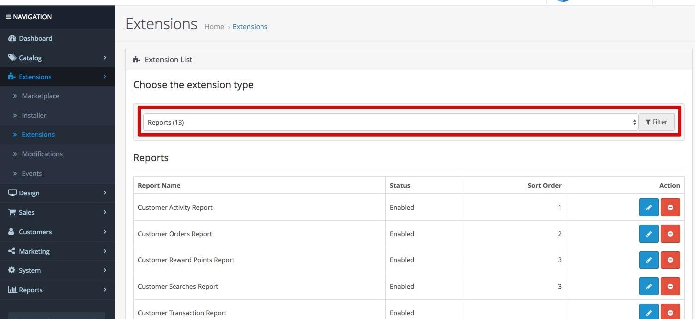 opencart разширени отчети